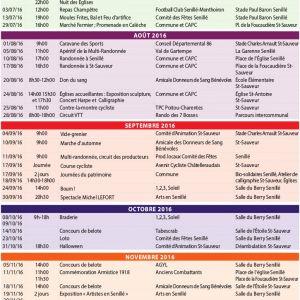 Calendrier des manifestations prévues 2ème semestre 2016