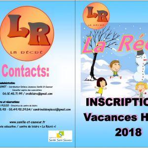 """Inscriptions """"La Récré"""" vacances d'hiver"""