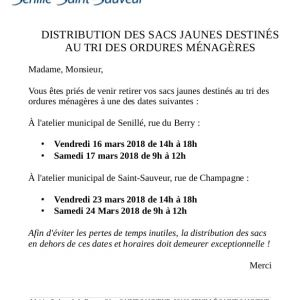 Distribution des sacs jaunes : dates à retenir !