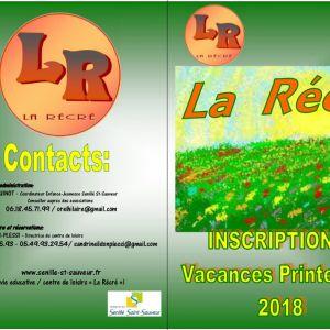 """Inscriptions """"La Récré"""" vacances de printemps 2018"""