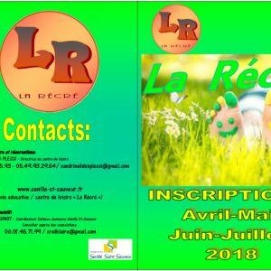 """Inscriptions """"La Récré"""" mai-juin 2018"""