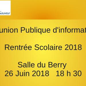 Réunion publique d'information : Rentrée scolaire 2018