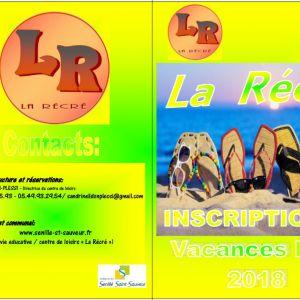 """Inscriptions Centre de Loisirs """"La Récré"""" été 2018"""