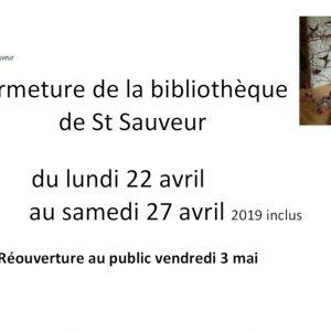 Fermeture de la bibliothèque de St-Sauveur