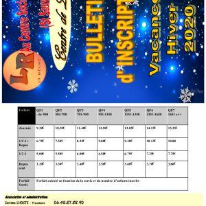 Inscription au Centre de Loisirs pour les vacances d'hiver 2020