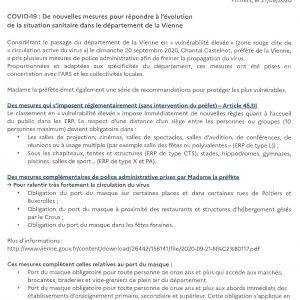 COVID-19 : De nouvelles mesures...