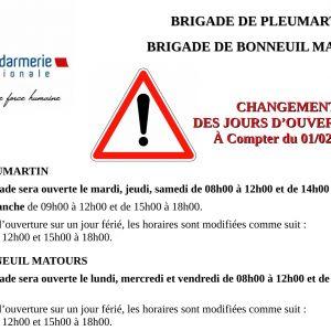 Horaires des gendarmeries de Pleumartin et Bonneuil-Matours