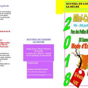 """Mini-camps du centre de loisirs """"La Récré"""""""