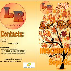 """Inscriptions au Centre de Loisirs """"La Récré"""", septembre et octobre 2018"""