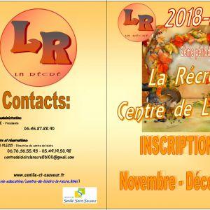 """Inscriptions au Centre de Loisirs """"La Récré"""", novembre et décembre 2018"""