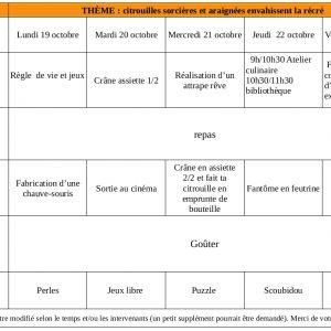 """Le programme des vacances de la Toussaint du Centre de Loisirs """"La Récré"""" est paru..."""